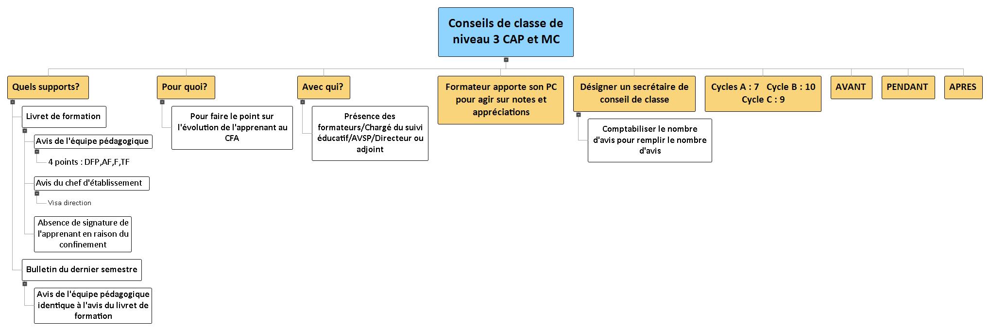 Conseils de classe de niveau 3 CAP et MC WBS