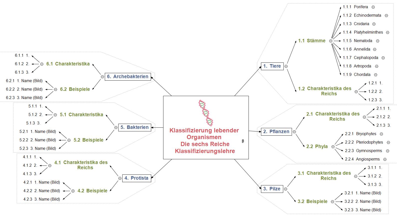 Klassifizierungslehre erweitert Mind Map