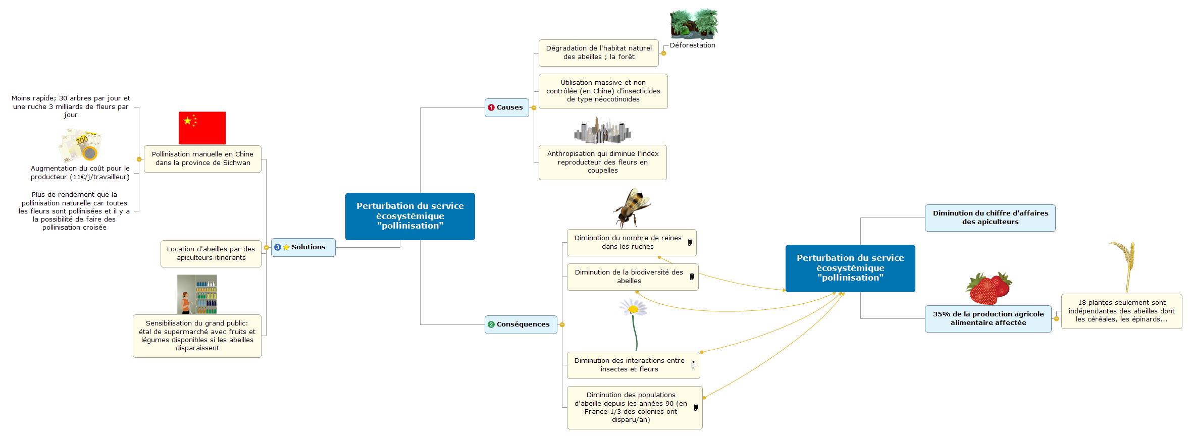 Perturbation du service écosystémique pollinisation Mind Maps