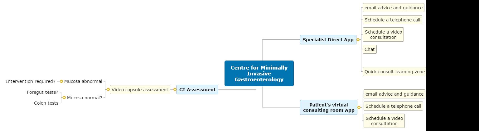 Centre for Minimally Invasive Gastroenterology Mind Map