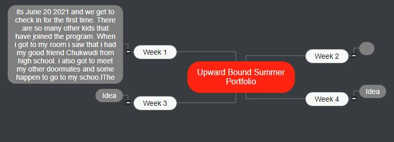 Upward Bound Summer Portfolio Mind Map