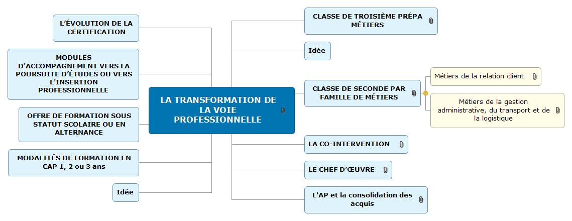 LA TRANSFORMATION DE LA VOIE PROFESSIONNELLE Mind Maps
