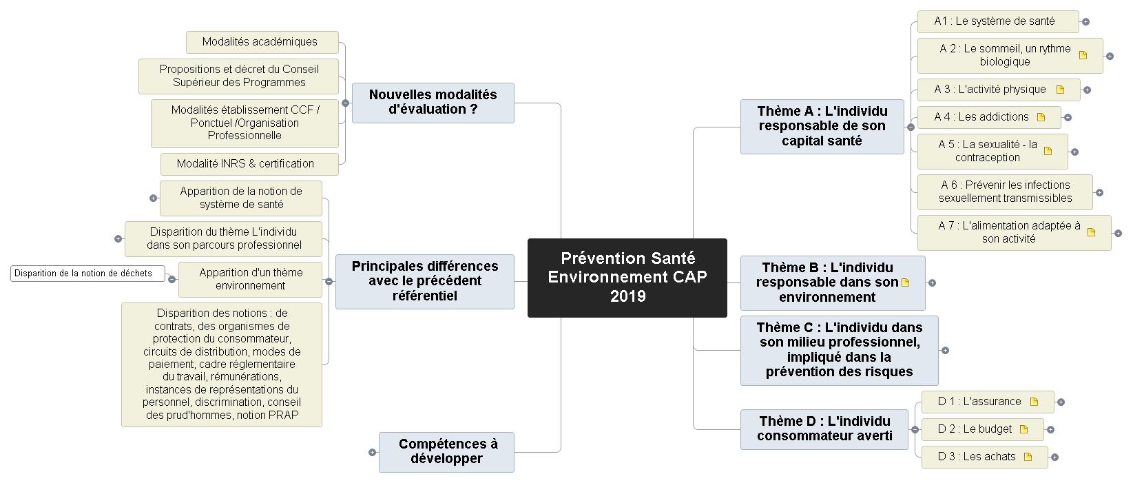 Prévention Santé Environnement - CAP 2019 Mind Maps