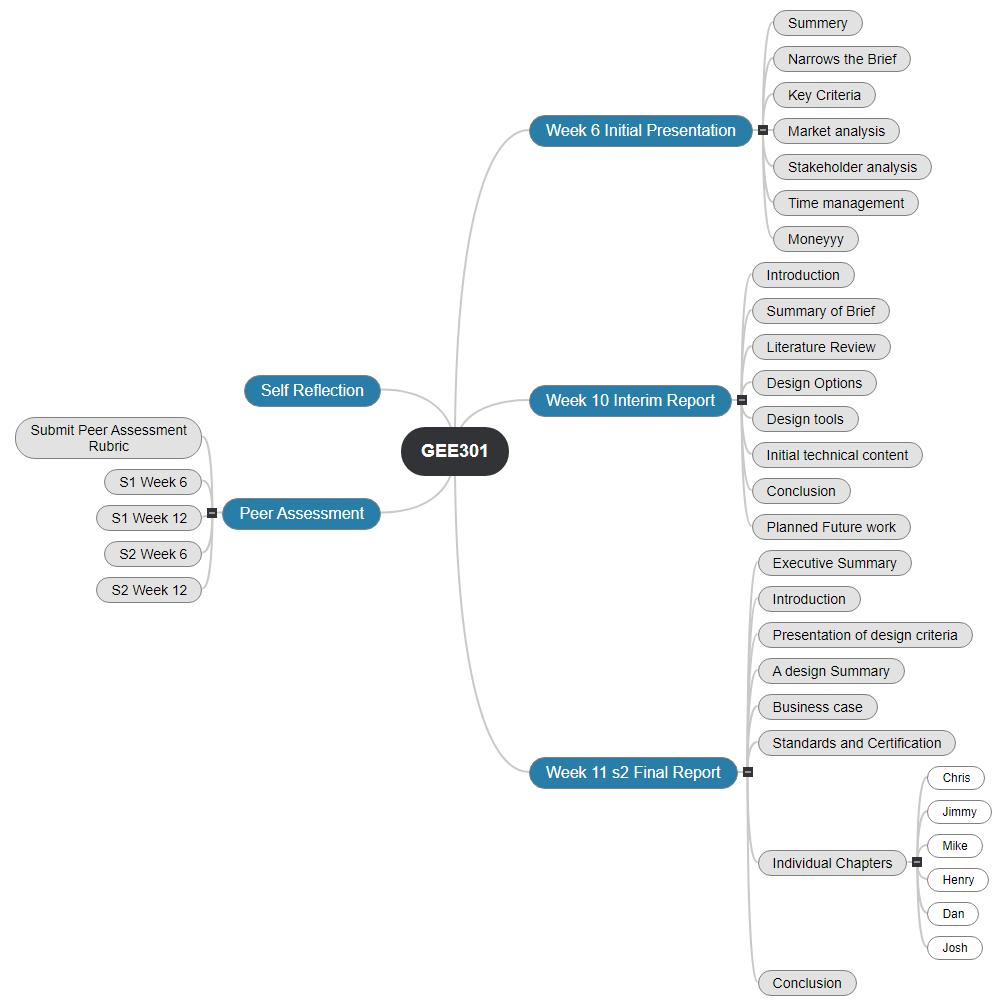 GEE301 Gnatt Chart Mind Map