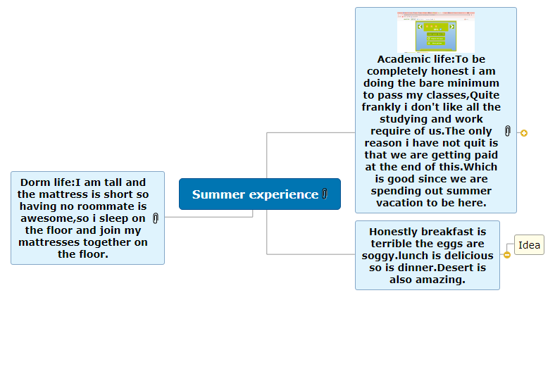 Summer experience1 Mind Map