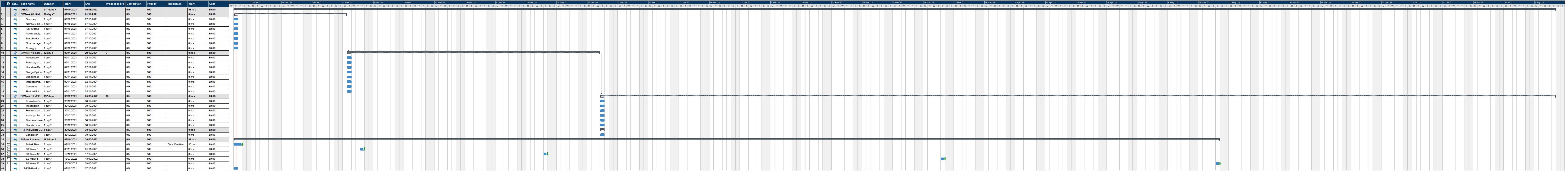 GEE301 Gnatt Chart Timeline