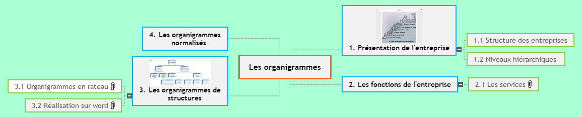 Les organigrammes Mind Maps