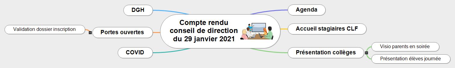 Compte rendu conseil de direction du 29 janvier 2021 Mind Maps